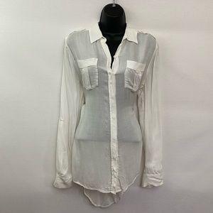 Express White High Low Button Down Shirt Sz M Y-47